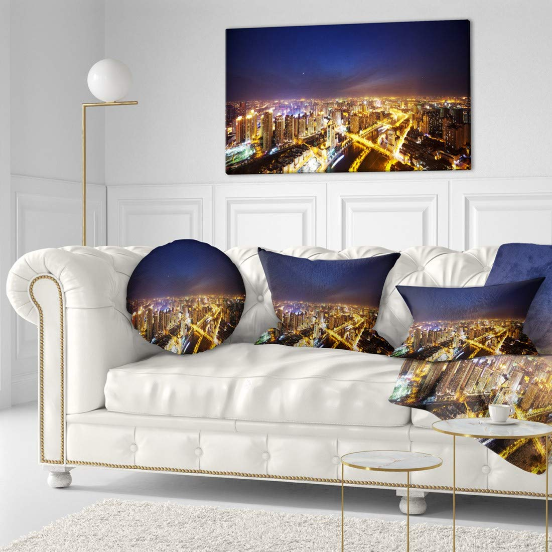 Design Art Pt10997 40 20 Downtown Nighttime Panorama Cityscape Artwork Canvas 40x20 40x20 Amazon In Home Kitchen