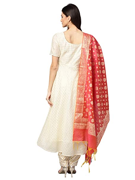 4a5ea1e5f5 Inddus Cream Chanderi Cotton Self Design Anarkali Suit Set with banarasi  woven Dupatta (Fully-Stitched).: Amazon.in: Clothing & Accessories