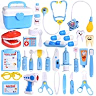 FUN LITTLE TOYS 31Pcs Doctor Medical Kit - Pretend Play Set for Kids Doctor Role Play Costume Dress-Up, Birthday Gifts