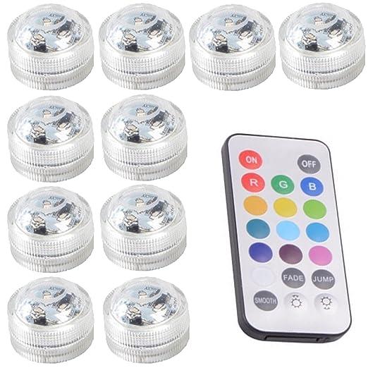 10pcs Luces sumergibles LED Luces subacuáticas impermeables SMD 3528 RGB luces de humor para vaso,