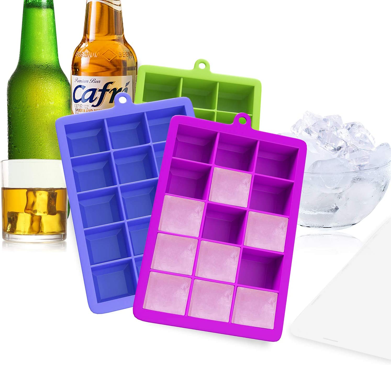 Ouddy 3 Pack Ice Cube Trays, Easy Release Ice Tray Make 45 Square Ice Cubes, Silicone Ice Cube Tray Fit Whiskey Storage, Cocktail, Beverages, Suit Dishwasher, BPA Free