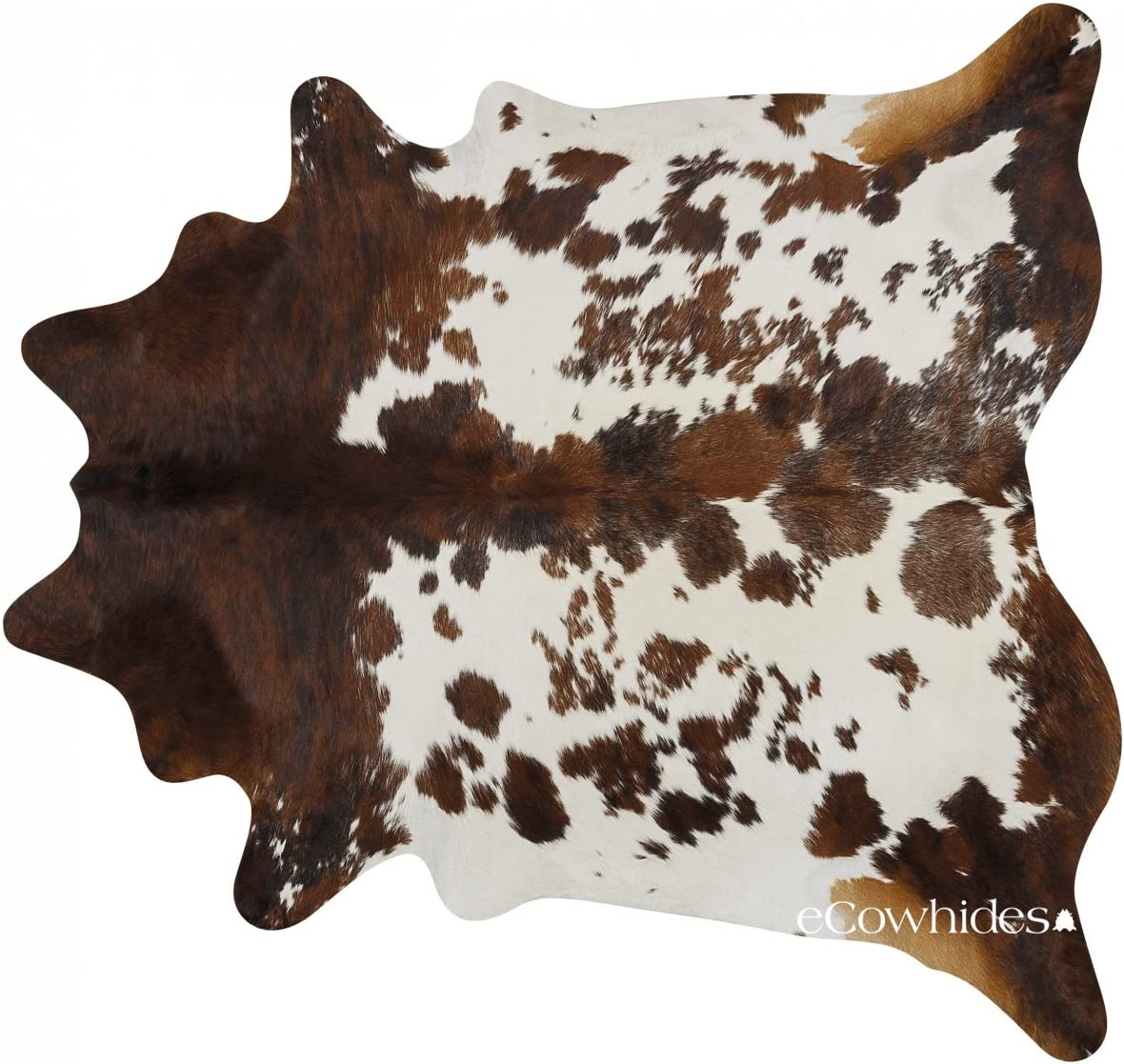 eCowhides Tricolor Brazilian Cowhide Area Rug, Cowskin Leather Hide for Home Living Room XL 7 x 6 ft