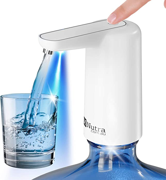 M Nutra Portable Electric Water Dispenser - 5 Gallon BPA-Free Water Jug Pump - USB Rechargeable Battery - Compatible with 2-5 Gallon Bottles - for Home, Office, Camping, Outdoors, Indoors