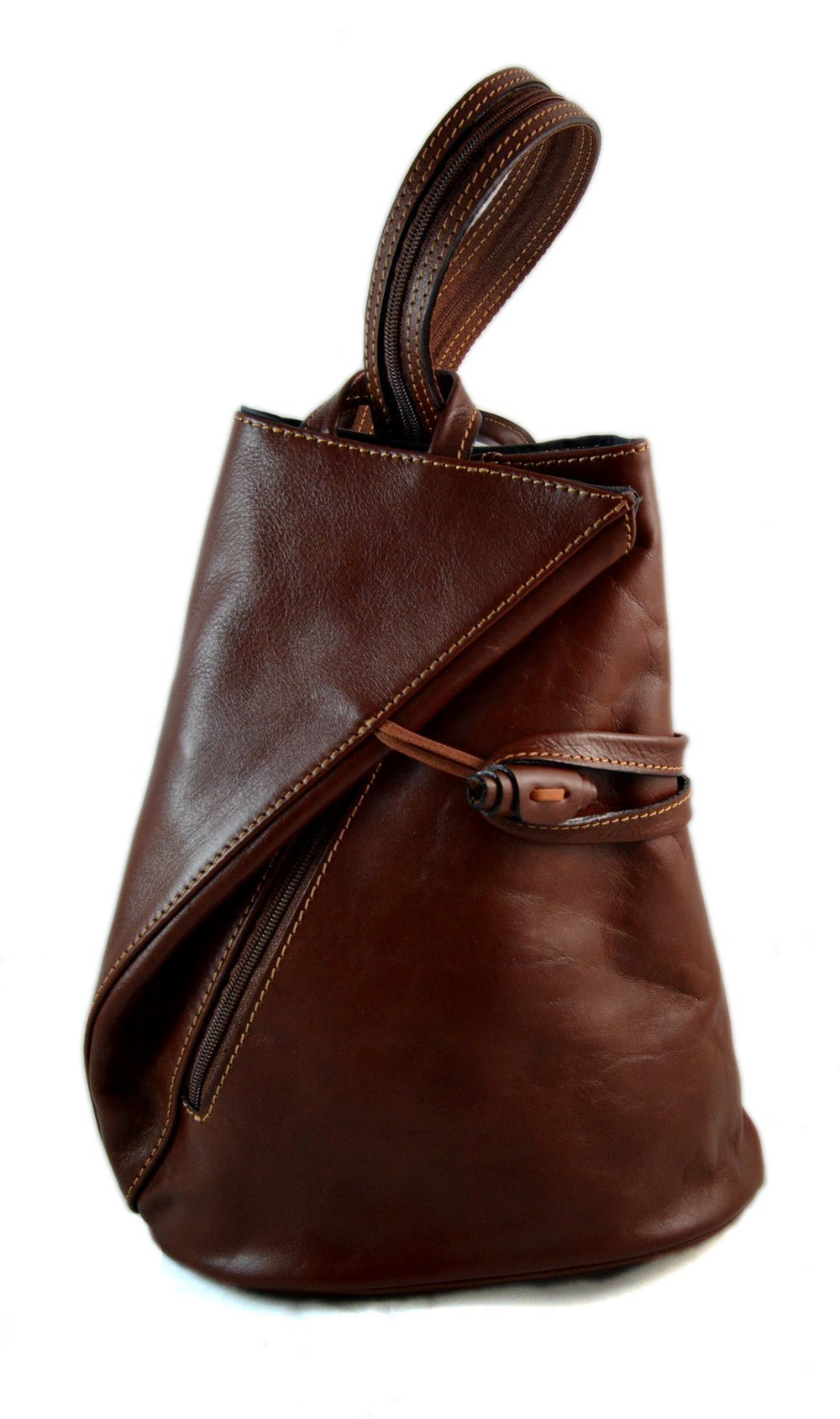 Luxury leather backpack travel bag weekender sports bag gym bag leather shoulder ladies mens bag satchel original made in Italy brown