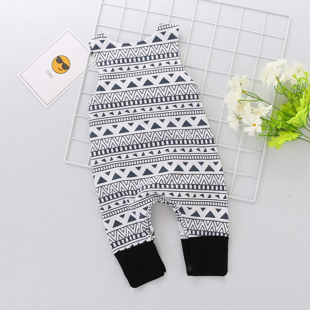 Anxinke Unisex Baby One Piece Sleeveless Geometric Print Jumpsuits Rompers