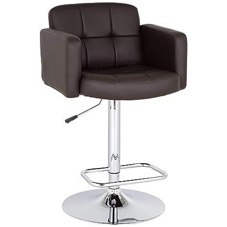 Pleasant Trek Large Espresso Faux Leather Adjustable Swivel Bar Stool Studio 55D Machost Co Dining Chair Design Ideas Machostcouk