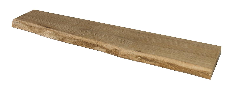 Wandregal, Eiche, massiv, Holz, Regal, Baumrinde, Baumkante, rustikal Wandboard (100 mit Baumkante)