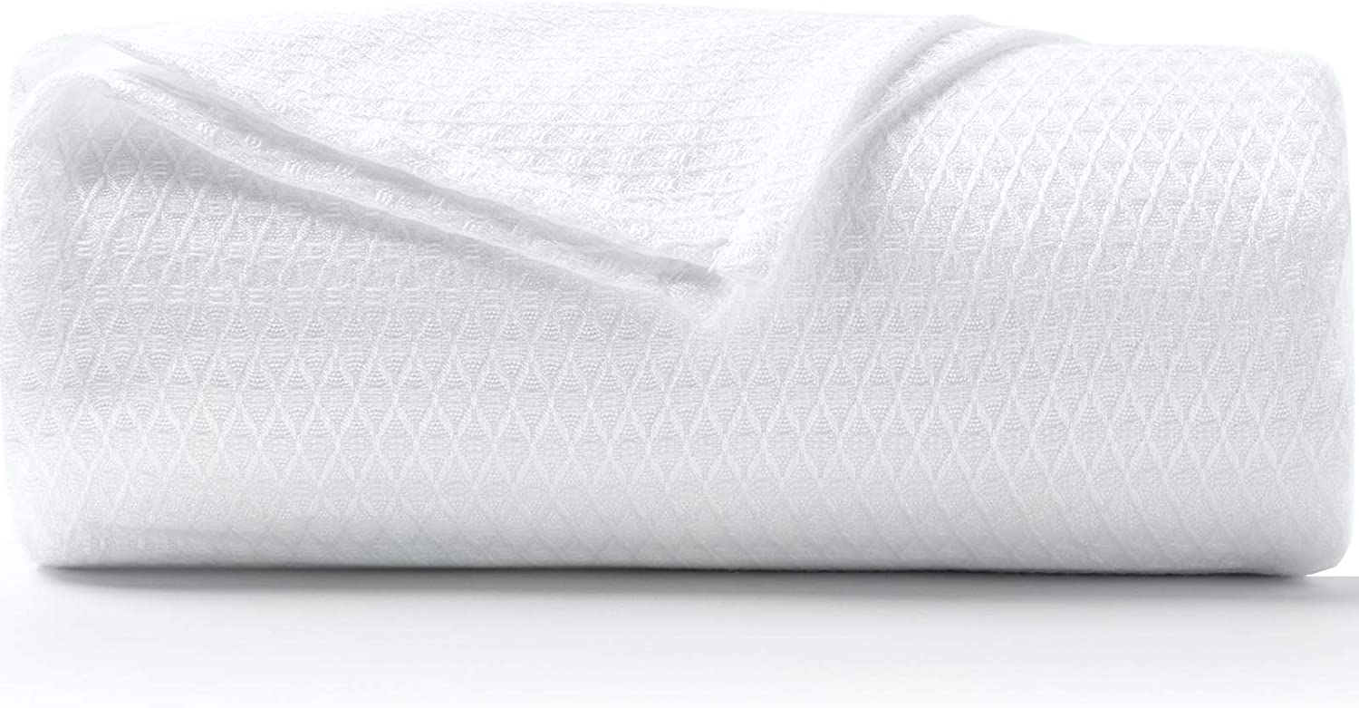 DANGTOP 100% Bamboo Cooling Blanket, Cooling Lightweight Blanket for Home Decoration, King Size - Perfect for Layering Any Bed for All-Season (108x90 inches, White)