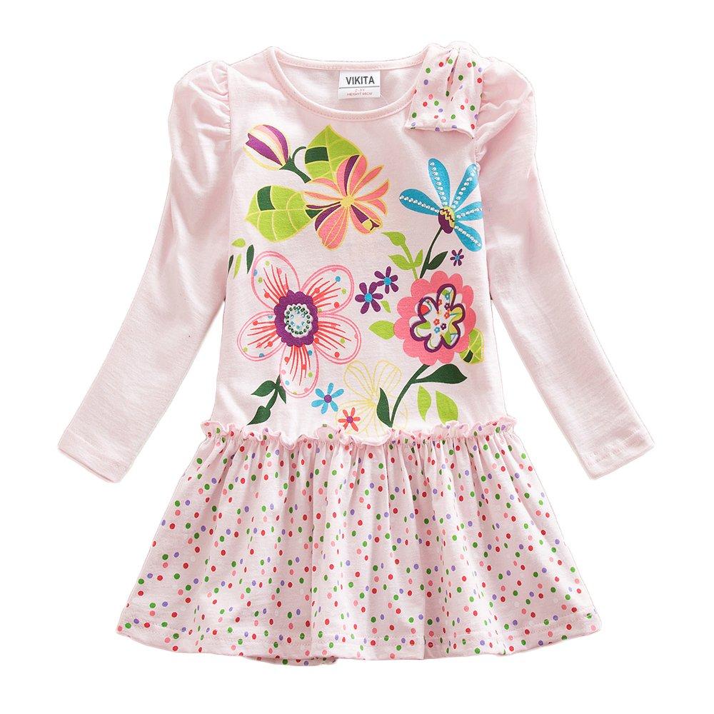 VIKITA Girls Cotton Flower Long Sleeve Casual Dress H5795PINK 4-5 Years