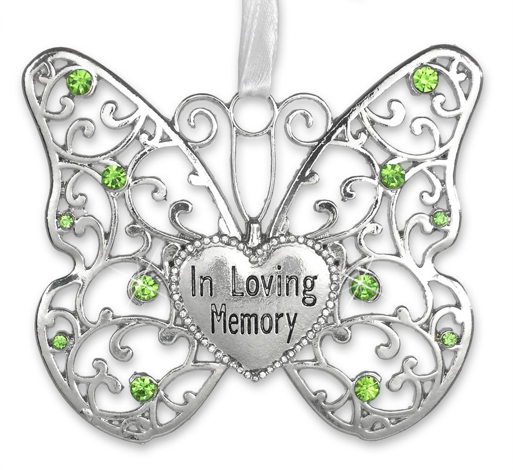 Rememberance Silver Filigree Butterfly Ornament