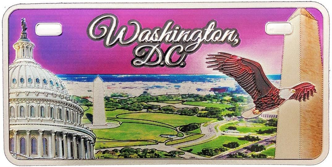 Washington DC Capital of the USA License Plate Purple Collage Souvenir Foil Refrigerator Magnet