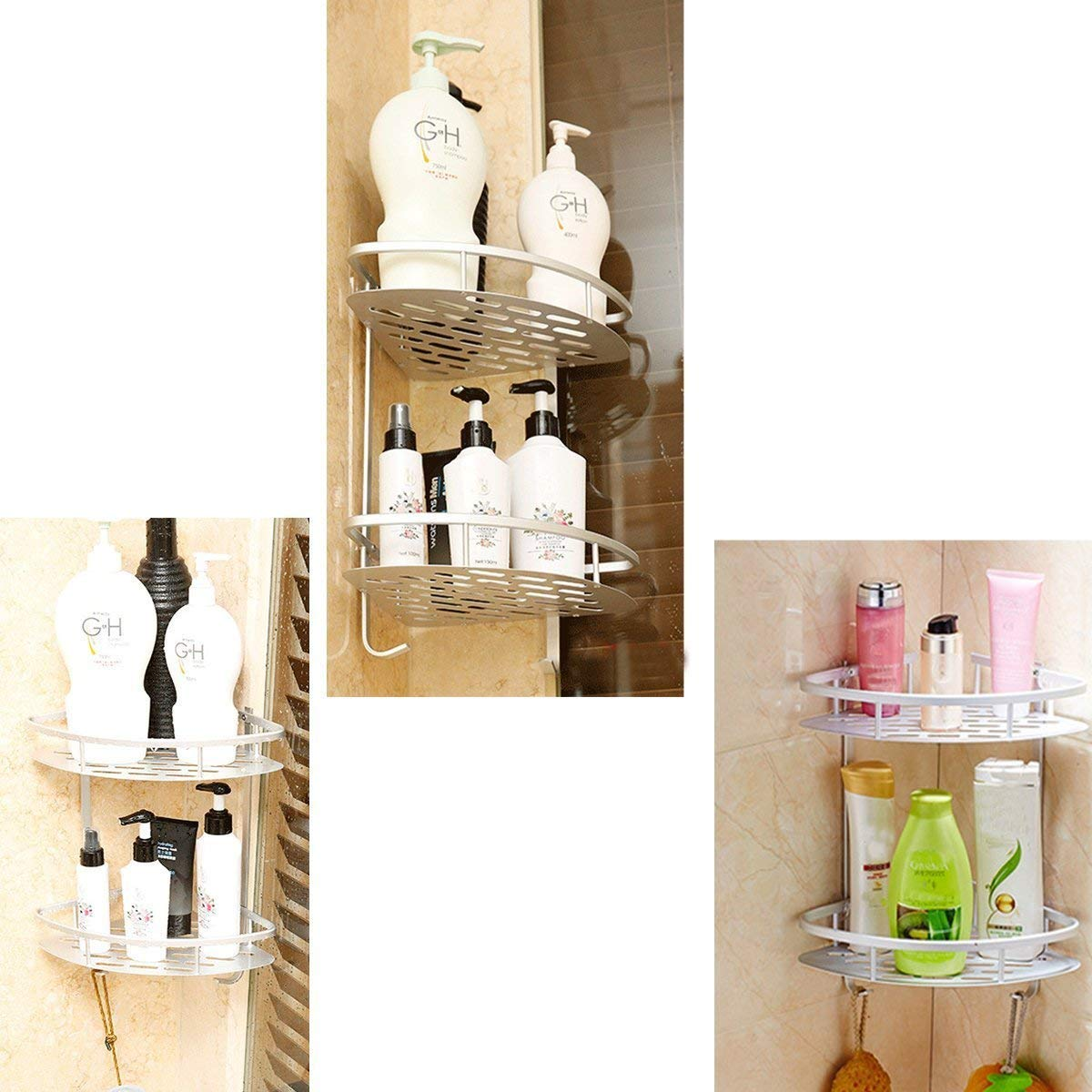 Shower Caddy No Drilling Aluminum Wall Mounted Corner Bathroom Shelf 2 Tiers Shelf Organizer Adhesive Storage Basket - Silver by HOMEE (Image #7)