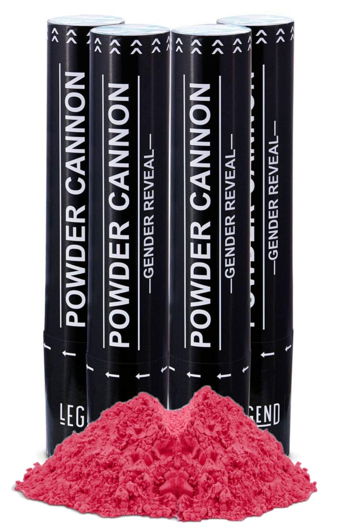 Legend & Co, Baby Gender Reveal Powder Cannons | Air Compressed Party Poppers | Bonus Feature: Small Color Check Window to View Contents | (4 Pink)