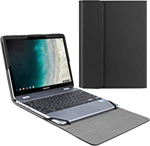 """Fintie Sleeve Case for 12.2"""" Samsung Chromebook Plus V2 XE520QAB - Premium PU Leather Protective Portfolio Book Cover Compatible with 12.2"""" Samsung Chromebook Plus XE521QAB / Plus LTE XE525QBB, Black"""