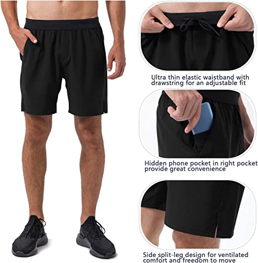 REYSHIONWA Mens Quick Dry Running Shorts Workout Sport Fitness Short 7 Inch Athletic Gym Shorts with Pockets