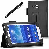 Galaxy Tab 3 Lite 7.0 / Galaxy Tab E Lite 7.0 Case - SHEROX Premium Folio Leather Case for Samsung Galaxy Tab 3 Lite 7.0 / Galaxy Tab E Lite 7.0 Inch Android Tablet + Free stylus touch pen (Black)
