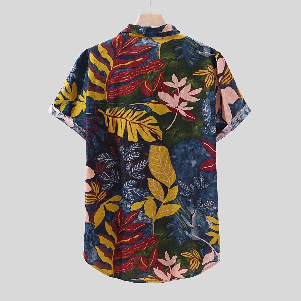 Codomo Isla Camisa Casual con botones Manga Corta Funky Camisa ...
