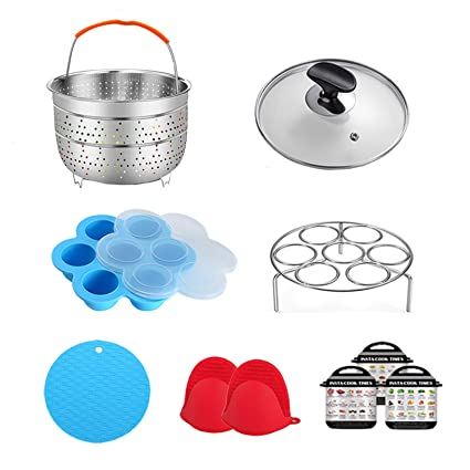 Egg Rack Tempered Glass Lid Magnetic Cheat Sheet and Spoon Rest Oven Mitts ULEE 7-Piece Accessories for Instant Pot 3 Qt Silicone Stretch Lid Including Steamer Basket