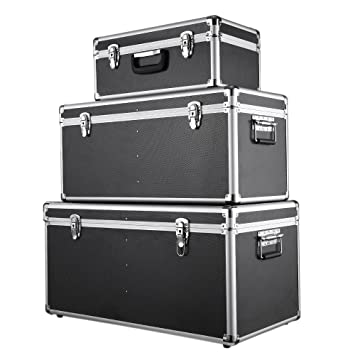 IKAYAA Juego de 3 Piezas Cajas de Almacenaje Aluminio con Cierre y Mango Multiusos Negro: Amazon.es: Hogar