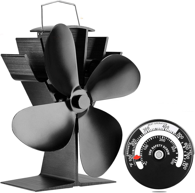 7/'/' Quiet 4 Leaves Wall Mounted Stove Fan Fireplace Heat Power Saving Fan Home
