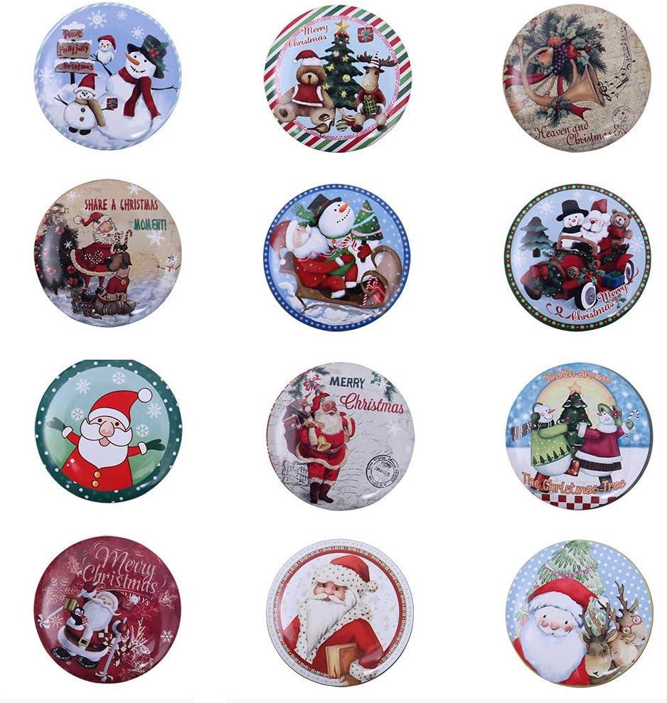 Rolin Roly Petite Boite Metal Noel Ronde R/étro Boite de Rangement Les Chocolat Bonbon Cadeau Biscuits Christmas Candy Box 2pc