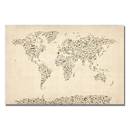 Amazon trademark fine art music note world map by michael trademark fine art music note world map by michael tompsett 16x24 inch canvas wall publicscrutiny Choice Image