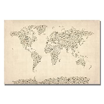 Amazon music note world map by michael tompsett 16x24 inch music note world map by michael tompsett 16x24 inch canvas wall art gumiabroncs Images