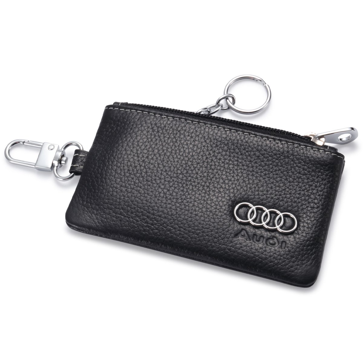 Audi Car Key Holder Remote Cover Fob with 1 Metal Keychain - Genuine Leather