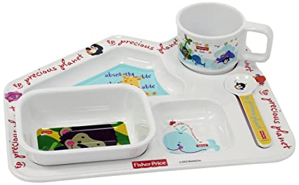 Eternia Fisher Price Precious Planet House Shaped Kids Dinner Gift Set, 4-Pieces, Multicolour