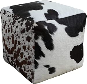 Foreign Affairs Home Décor Square Cowhide Pouf Tempo in Black & White