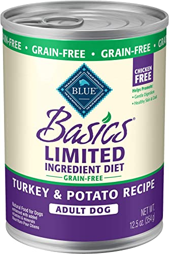 Blue Buffalo Basics Limited Ingredient Diet, Grain Free Natural Adult Wet Dog Food, 12.5 oz cans Pack of 12