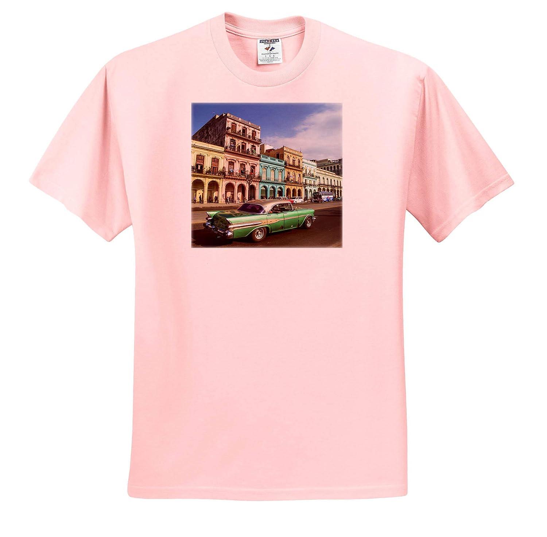 Cuba Havana City Scenic with Green Vintage car - Adult T-Shirt XL Cuba 3dRose Danita Delimont ts/_312984