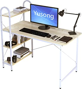Yusong 47 Inches Computer Desk with Shelves,Reversible Writing Desk with Adjustable Storage Bookshelf,for Home Office,Cedar White