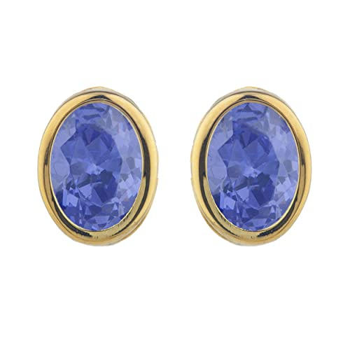 Simulated Tanzanite Oval Design Stud Earrings 14Kt Yellow Gold Plated Over .925 Sterling Silver
