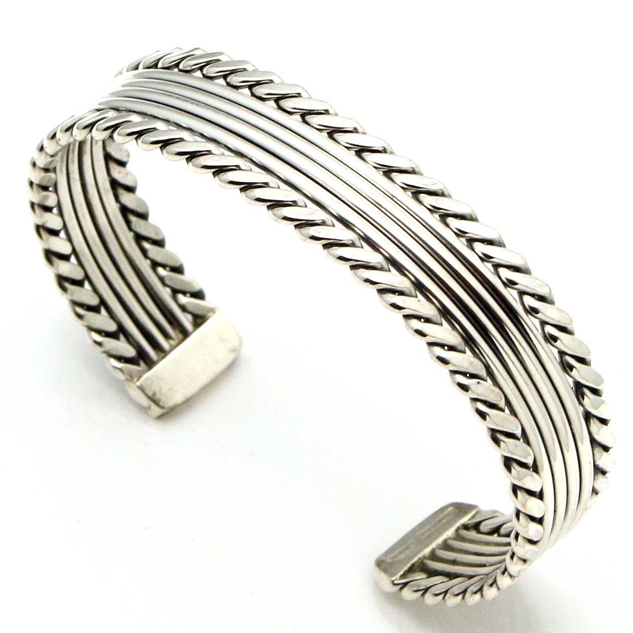 Silver Cuff By Navajo Artist Elaine Tahe (5.25'' tip to tip x 1/2'' wide) by L7 Enterprises (Image #5)