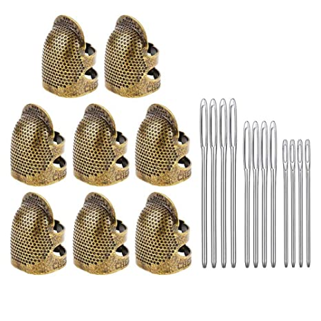 Adjustable Finger Metal Shield Protector Pin Needles Sewing Quilting Craft Accessories DIY Sewing Tools Needlework 4 Pack Sewing Thimble Finger Protector 2 Sizes