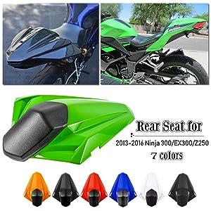 FATExpress Ninja300 Accessories Motorcycle ABS Passenger Pillion Rear Solo Seat Cover Cowl for 2013 2014 2015 2016 Kawasaki Ninja 300 R Ninja-300 Z250 EX300 13-16 (Green)