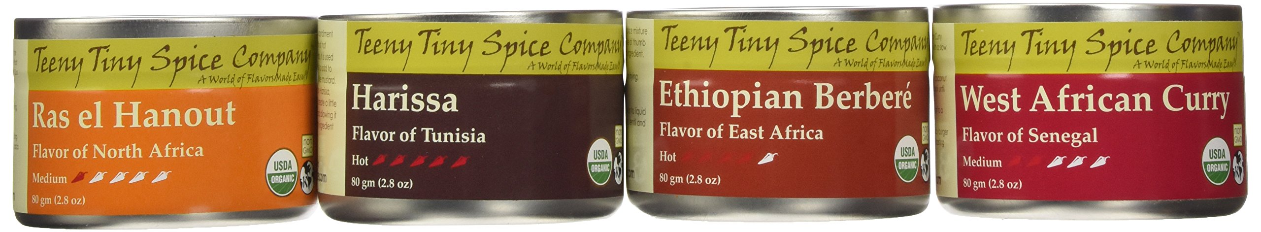 Teeny Tiny Spice Company Organic African Spice Blends Variety Pack, Four 2.8 Oz Tins
