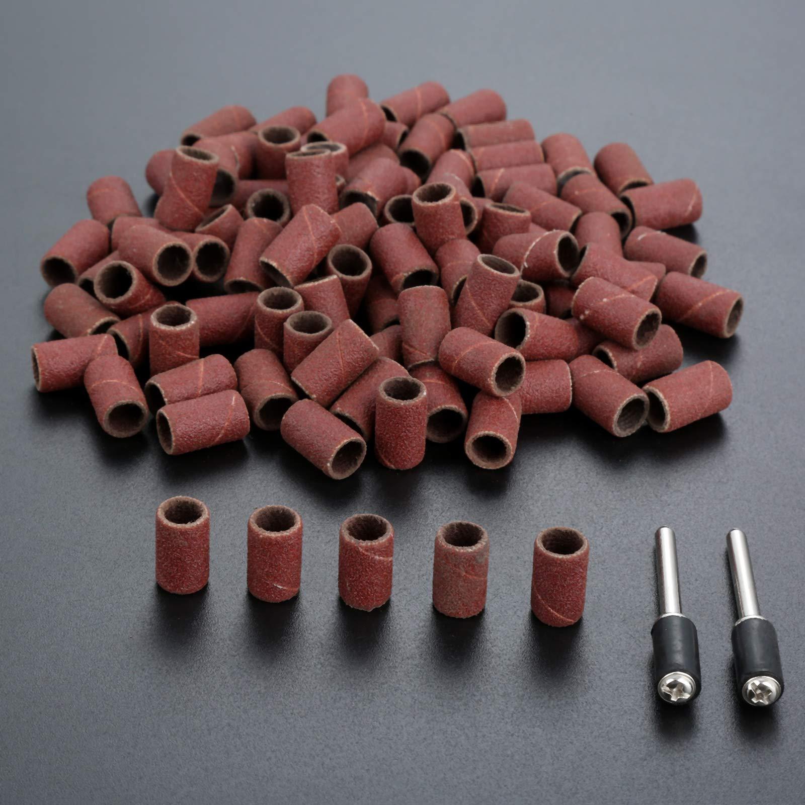100PCs Polishing Brush Wheel for Drill Grinding Burnish Grinder Rotary Tools with 2PCs Mandrel 6.35CM Grit:180#