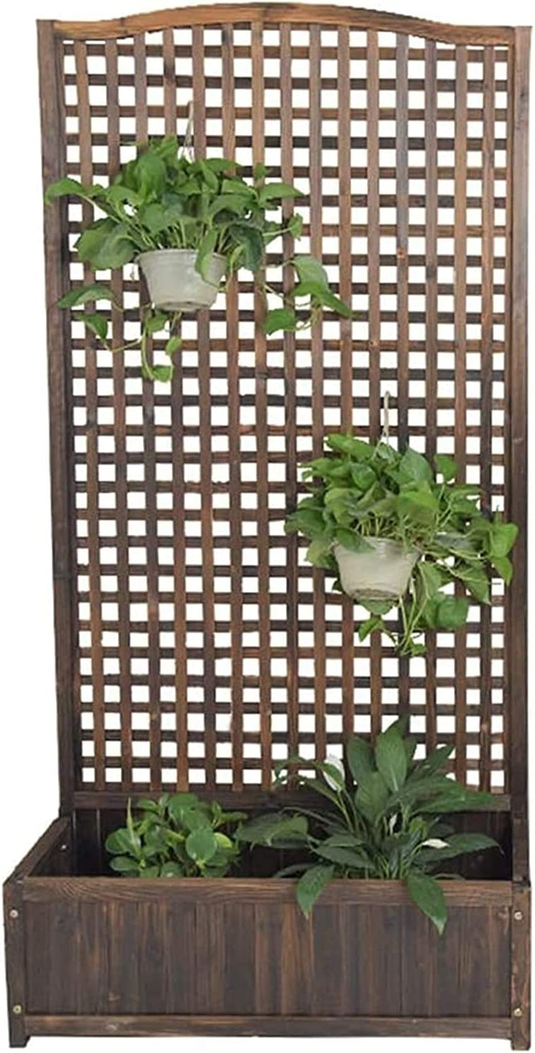 Jin-Siu Garden Bed Raised Elevated Planter Box Wood Planter Flower Free Standing Plant Raised Garden Bed with Trellis Outdoor Lattice Panels Decorative Vertical Gardening Shelf for Climbing for Patio
