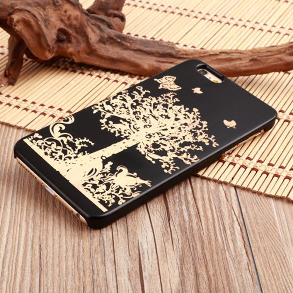 LINFA BLACK iPhone 5SSE 6 6S 7 7Pカバー木製ケース(iPhone 5S / SE、木)   B0719FLX23