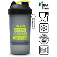 ALLIEDSALES Train Insane SG -310 Gym Shaker 600 ml with Protein Compartment (Black Neon Green)