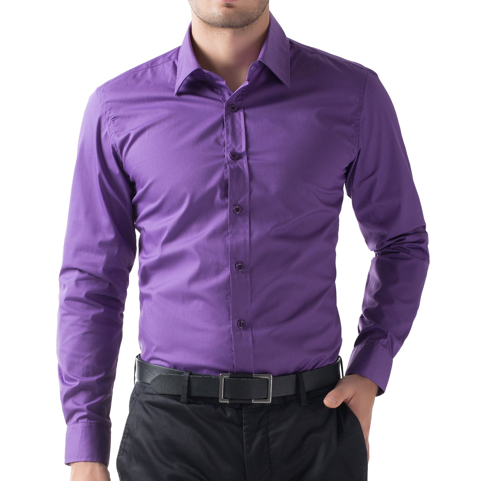 Paul Jones Mens Shirts Males Wedding Shirts For Engagement Party(5XL, Purple 52-6)