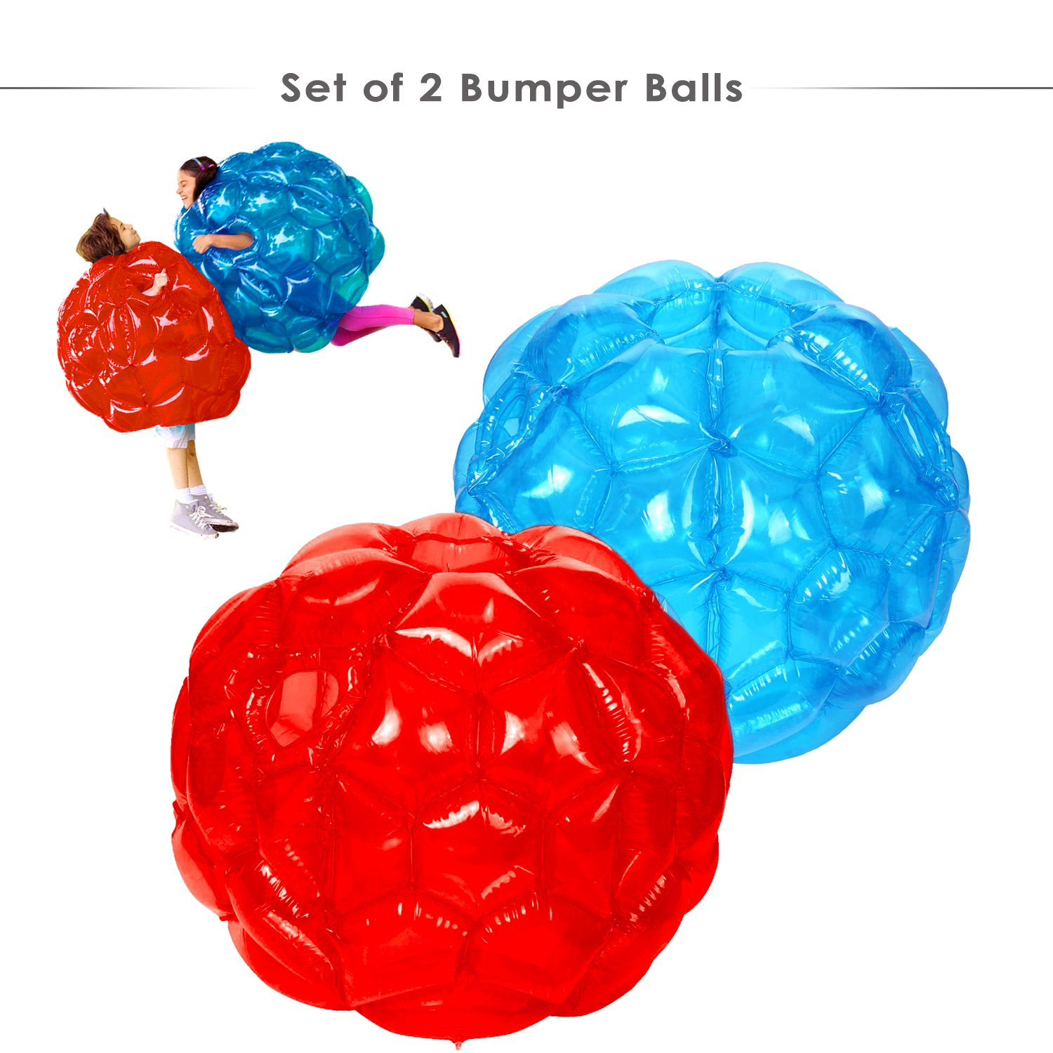 HW 2 Pack Inflatable Bbop Body Bumper Balls Wearable Zorb Bubble Soccer for Kids with Storage Bag 36'' by HW