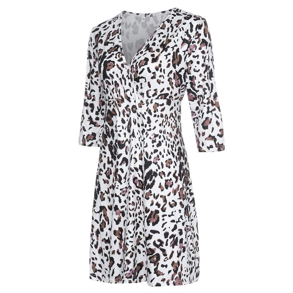 YESOT Pregnant Woman Half Sleeve Dresses Ladies V-Neck Print Casual Dresses