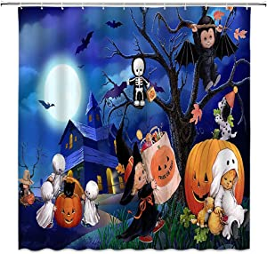 WZFashion Happy Halloween Shower Curtain Cartoon Pumpkin Ghost Bat Skull Castle Full Moon Dead Tree Funny Halloween Decor Fabric Kids Bathroom Curtain with Hook