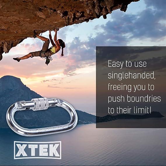 Mosquetón de escalada de acero en forma de O (25kn=5600lb) con cierre de rosca, con certificado CE UIAA, mosquetones resistentes, para escalada, ...
