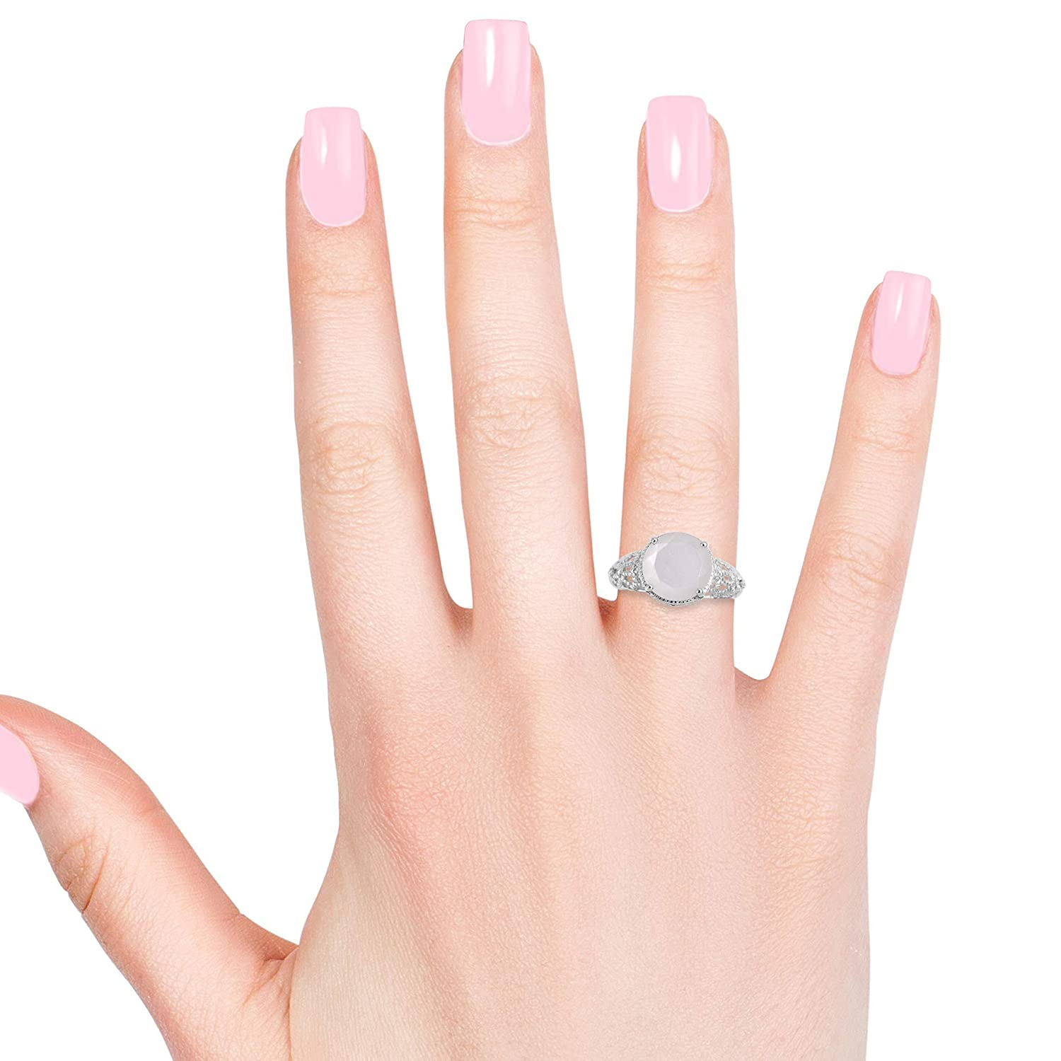 Shop LC Delivering Joy Solitaire Ring Round White Moonstone Gift Jewelry Size 10 Cttw 4.2