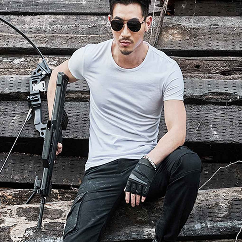 Republe Men Pure Color Elásticos Exteriores Top de Manga Corta Camisetas Delgadas Blusas Tee xDdakwKxus