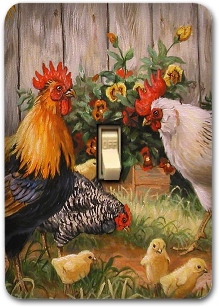 Metal Single Toggle Light Switch Cover Rooster decor Country Farmhouse Kitchen
